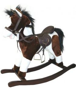 Plyšový kůň houpací tmavě hnědý 70 cm