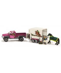 Schleich Pick-up s přívěsem a koněm
