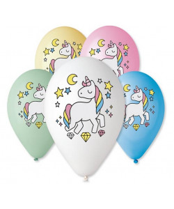 """Nafukovací balónky Jednorožec 5ks 12\"""""""