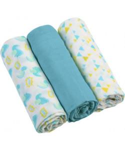 BABYONO Pleny mušelínové Super soft 3 ks – Modré