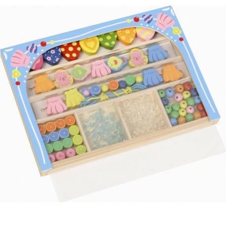 LENA - Dřevěné perly v dřevěné kazetě