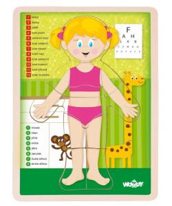 Woody Dřevěné Puzzle Lidské tělo - Holka CZ