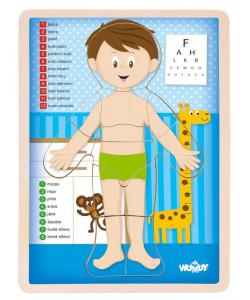 Woody Dřevěné Puzzle Lidské tělo - Kluk CZ