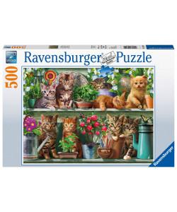 Ravensburger Puzzle Kočky na knihovně 500 dílků
