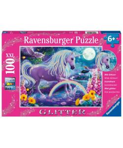 Třpytivé puzzle Zářící jednorožec 100 dílků