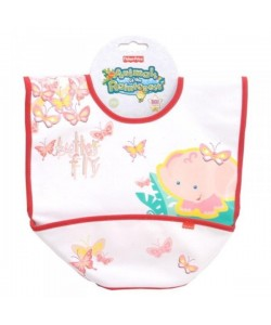 Fisher-Price Dětský bryndák s kapsou- růžový