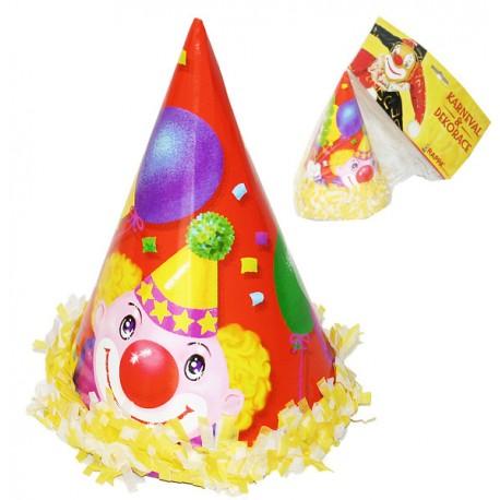 Klobouk papírový s klaunem 6 ks v sáčku