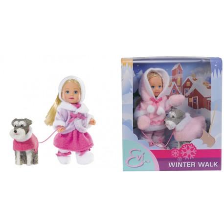 Panenka Evička zimní procházka s pejskem