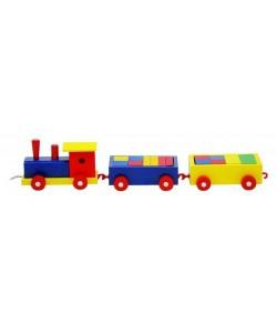 Woody Tahací vlak barevný - 2 vagony