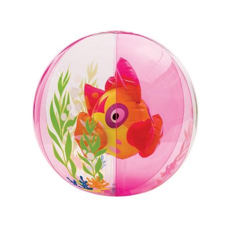 INTEX Nafukovací míč 61cm s rybou uvnitř - růžová