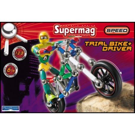 SUPERMAG Motorka s řidičem 123 dílků - Magnetická stavebnice