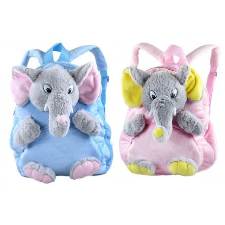 Plyšový batoh se slonem - modrý
