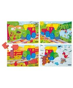 """Puzzle v krabičce - 4motivy - jaro, léto, podzim, zima """"Mašinka"""""""