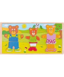 """Woody Puzzle Šatní skříň """"Oblékni si svou medvědí rodinku"""""""