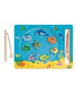 """Kruh dřevěný """"Rybolov"""" - magnetická hra"""