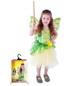 Kostým víla Zelenka s křídly, velikost S 4-6 let