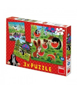 Dino Puzzle 3x55D Krteček a paraplíčko
