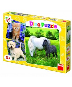Dino Puzzle zvířátka 3x55d.